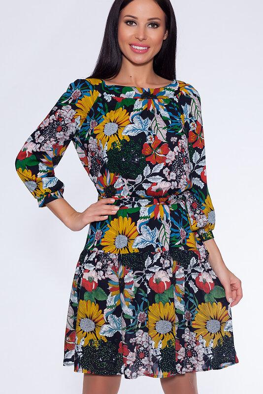 акция -60% до 30августа ARGENT Платье Черный/цветы