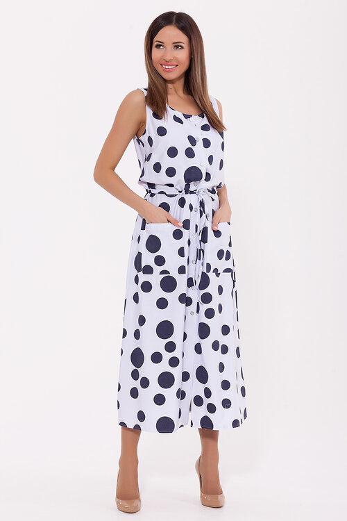 СКИДКИ до 01 июня #70346 Платье Белый/синий горох