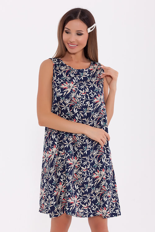 #71554 Платье Синий/бежевый