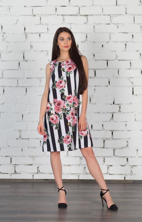 #99407 Платье цветы