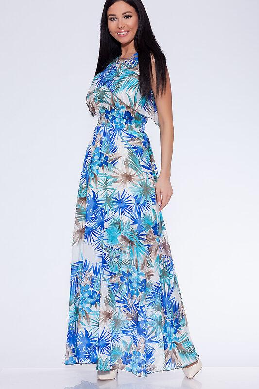 OleGra Платье 14536 17981 Бело-голубой оптом от Engros