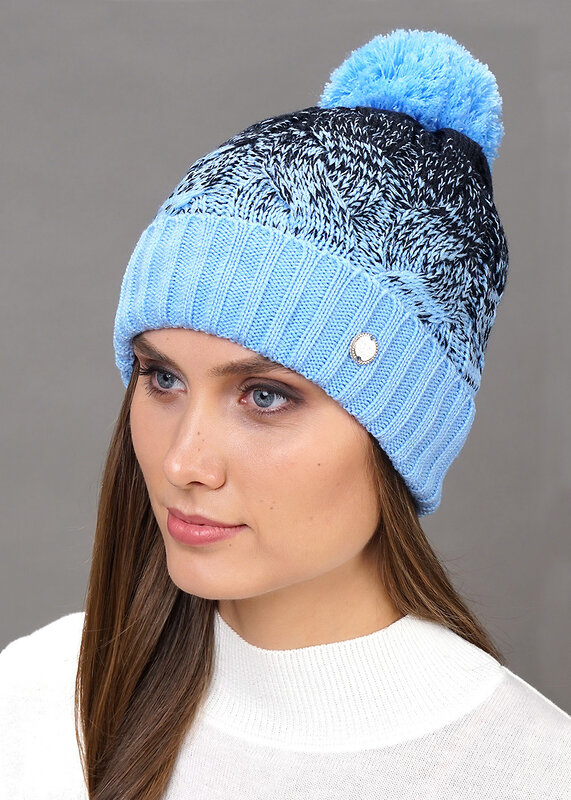 CLEVER Шапка 135129 192284аш т.синий/голубой оптом от Engros